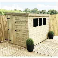 8 x 5 Reverse Pressure Treated Tongue And Groove Pent Shed With 3 Windows And Single Side Door + Safety Toughened Glass