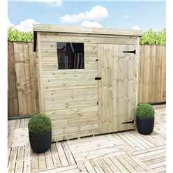 6 x 3 Pressure Treated Tongue And Groove Pent Shed With 1 Window + Single Door + Safety Toughened Glass