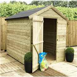 6 x 6 Premier Windowless Pressure Treated Tongue And Groove Single Door Apex Shed With Higher Eaves With Ridge Height