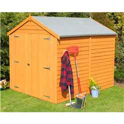 8 x 6 (2.39m x 1.82m) - Overlap Dip Treated - Apex Garden Shed - Windowless - Double Doors - 11mm Solid OSB Floor