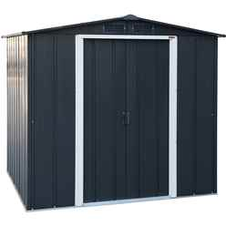 **PRE-ORDER ONLY - BACK IN STOCK MID JUNE**  6 X 6 Deluxe Anthracite Metal Shed (2.01m X 1.82m)