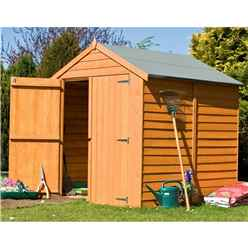 6 x 6 (1.76m x 1.82m - Overlap Dip Treated - Apex Garden Shed - Windowless - Double Doors - 9mm Solid OSB Floor