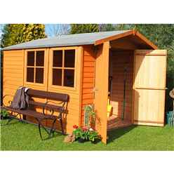 10 x 7 Dip Treated Overlap Apex Wooden Garden Shed With 2 Opening Windows And Double Doors (10mm Solid OSB Floor)