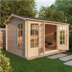 4m x 3m Premier Home Office Reverse Log Cabin (Double Glazing) + Free Floor & Felt & Safety Glass (28mm) (show Site)