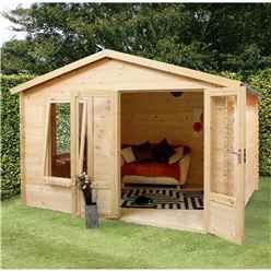 3.29m X 2.98m Budget Log Cabin (19mm Tongue And Groove) + Free Floor & Felt & Safety Glass (show Site)
