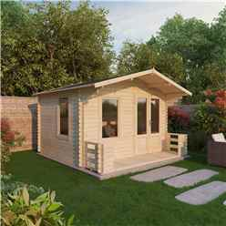 3.29m x 3.78m Budget Log Cabin Including Veranda (2ft 7 Inches (0.8m) - (19mm Tongue And Groove) + Free Floor & Felt & Safety Glass
