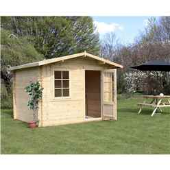 3m x 2.4m Premier Apex Log Cabin (Single Glazing) + Free Floor & Felt & Safety Glass (34mm)
