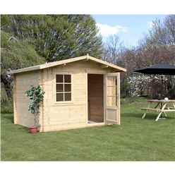 3m x 2.4m Premier Apex Log Cabin (Double Glazing) + Free Floor & Felt & Safety Glass (34mm)
