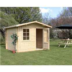 3m X 2.4m Premier Apex Log Cabin (single Glazing) + Free Floor & Felt & Safety Glass (44mm)