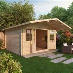 5m x 5m Premier Apex + Overhang Log Cabin (single Glazing) + Free Floor & Felt & Safety Glass (44mm)