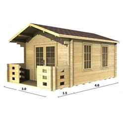 3m x 4m Log Cabin (2016) - Double Glazing - 70mm Wall Thickness