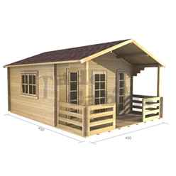 4m x 3m Log Cabin (2057) - Double Glazing (44mm Wall Thickness)
