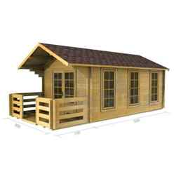 3m x 5m Log Cabin (2017) - Double Glazing (70mm Wall Thickness)