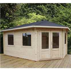 5m x 3m Premier Apex GRANDE Corner Log Cabin (Double Glazing) + Free Floor & Felt & Safety Glass (28mm) - Right Door