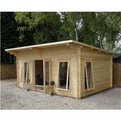 5.2m x 4m Premier Pent Log Cabin (Single Glazing) + Free Floor & Felt & Safety Glass (44mm Tongue And Groove)