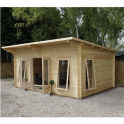 5.2m x 4m Premier Pent Log Cabin (Double Glazing) + Free Floor & Felt & Safety Glass (44mm Tongue And Groove)