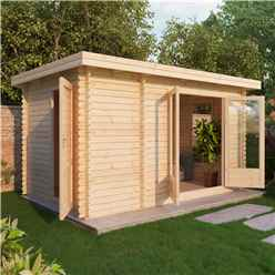 4m x 2.5m Premier Garden Pent Log Cabin (Double Glazing)  + Free Floor & Felt & Safety Glass (34mm Tongue And Groove)