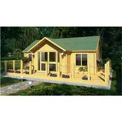 7.0m x 5.0m Log Cabin (4120) -  Double Glazing (70mm Wall Thickness)