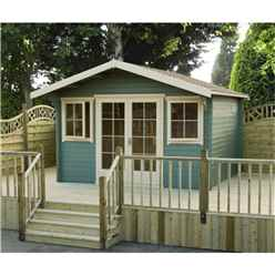 3.59m X 2.39m Log Cabin With Fully Glazed Double Doors - 70mm Wall Thickness