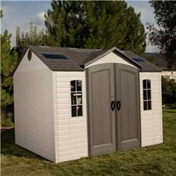 10 x 8 Life Plus Single Entrance Plastic Apex Shed with Plastic Floor  + 2 windows + 1 Opening Window (3.05m x 2.43m)