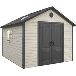 OOS - BACK 7/12 - 11 x 11 Life Plus Plastic Apex Shed With Plastic Floor  + 2 Windows (3.37m x 3.37m)