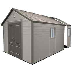 **PRE-ORDER: DUE BACK IN STOCK 11TH SEPTEMBER** 11 x 16 Life Plus Plastic Apex Shed with Plastic Floor  + 4 windows (3.37m x 4.89m)