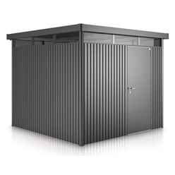 8 X 8 Premier Heavy Duty Metal Higher Ridge Height Silver Metallic Shed With Double Door (2.75m X 2.75m)