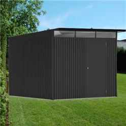 8 X 10 X Large Premier Heavy Duty Metal Dark Grey Shed  (2.6m X 3m)