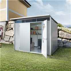 8 X 7 Large Premier Heavy Duty Metal Metallic Silver Shed With Double Doors (2.6m X 2.2m)
