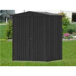6 x 5 Premier Heavy Duty Metal Dark Grey Metallic Shed (1.72m x 1.56m)