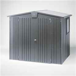 8 x 5 Premier Heavy Duty Metal Dark Grey Metallic Shed (2.44m x 1.56m)