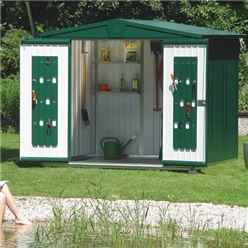 8 X 7 Premier Heavy Duty Metal Dark Green Shed (2.44m X 2.28m)