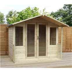 8 x 7 Pressure Treated Tongue And Groove Summerhouse Including Veranda