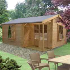 3.59m x 5.34m Apex Log Cabin - 28mm Tongue And Groove Logs