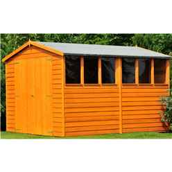 12 x 6 (3.59 x 1.85m) - Overlap Dip Treated - Apex Garden Shed - 6 Windows - Double Doors - 10mm Solid OSB Floor