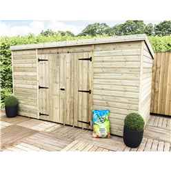 10 x 8 Pressure Treated Windowless Tongue And Groove Pent Shed With Double Doors (Centre)
