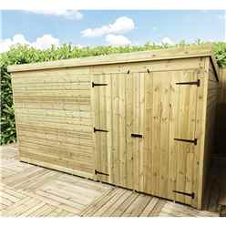 14 x 3 Windowless Pressure Treated Tongue And Groove Pent Shed With Double Doors