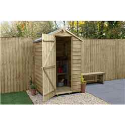 INSTALLED 4ft x 3ft Pressure Treated Overlap Apex Garden Shed with Single Door (1.3m x 0.9m) - Modular - INCLUDES INSTALLATION