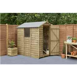 6ft x 4ft Pressure Treated Overlap Apex Wooden Garden Shed With 1 Window (1.8m x 1.3m) - Modular (CORE)