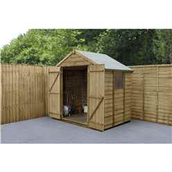 INSTALLED 7ft x 5ft Pressure Treated Overlap Apex Wooden Garden Shed With Double Doors (1.5m x 2.2m) - Modular - INCLUDES INSTALLATION