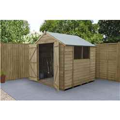 INSTALLED 7ft x 7ft Pressure Treated Overlap Apex Wooden Garden Shed With Double Doors (2.2m x 2.1m) - Modular - INCLUDES INSTALLATION