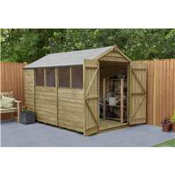 10 x 6 Pressure Treated Overlap Apex Wooden Garden Shed - Double Doors - Windows - Assembled