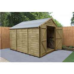 INSTALLED 10ft x 8ft Pressure Treated Overlap Apex Wooden Garden Shed - Double Doors - Windowless - Modular  (3.1m x 2.5m) - INCLUDES INSTALLATION - CORE