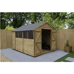 10ft x 8ft Pressure Treated Overlap Apex Wooden Garden Shed - Double Doors - 4 Windows - Modular (3.1m x 2.5m)