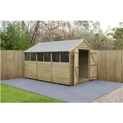 INSTALLED 12ft x 8ft Pressure Treated Overlap Apex Wooden Garden Shed - Double Doors - Windows - (3.7m x 2.5m) - Modular - INCLUDES INSTALLATION