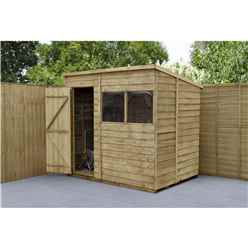 INSTALLED 7ft x 5ft Pressure Treated Overlap Wooden Pent Shed (2.1m x 1.5m) - Modular - INCLUDES INSTALLATION