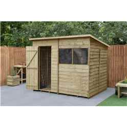 INSTALLED 8ft x 6ft Pressure Treated Overlap Wooden Pent Shed (2.4m x 1.9m) - Modular - INCLUDES INSTALLATION - CORE