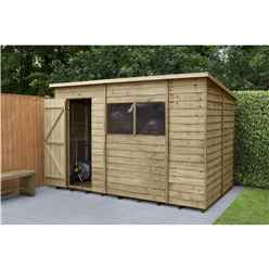 INSTALLED 10ft x 6ft Pressure Treated Overlap Wooden Pent Shed (3.1m x 1.9m) - Modular - INCLUDES INSTALLATION
