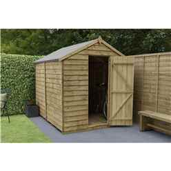 INSTALLED 8ft x 6ft Pressure Treated Windowless Overlap Apex Wooden Garden Shed - Single Door (2.4m x 1.9m) - Modular - INCLUDES INSTALLATION - CORE
