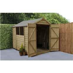 8 x 6 Pressure Treated Overlap Apex Wooden Garden Shed -  Double Door